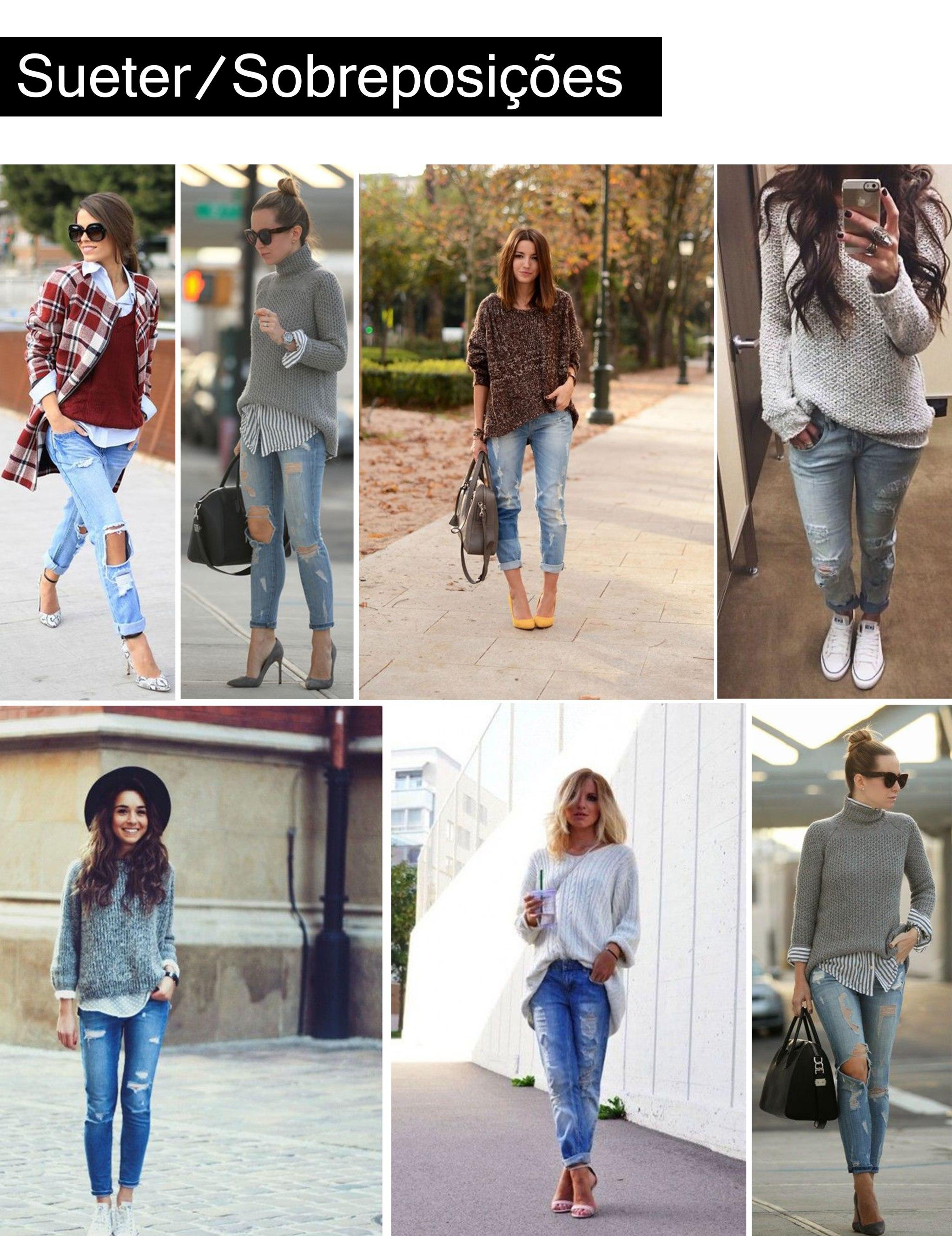 sueters_sobreposições com calça destroyed / sueters_sobreposições com destroyed jeans